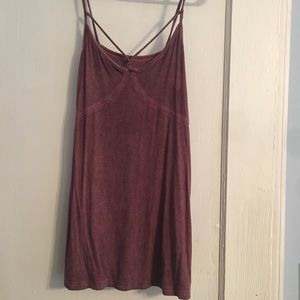 Red Ribbed Strappy Tank Top